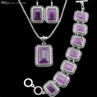 antique amethyst earrings - Antique Silver Plated Flower Square Real Amethyst Necklace Bracelet Earrings Jewelry Sets TS103