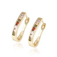 alphabet styles - Christmas Gift Colorful Zirconia Huggie K Gold Plated Earhoop For Women Mexican Style Copper Jewelry Earrings