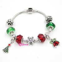 bar bell set - New Arrival Interchangeable Christmas Jewelry Bracelet Holiday Christmas Bell Xmas Tree Charm Bracelets for women Christmas Gift