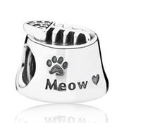 Hight Qaulity plata esterlina 925 plata gato cuenco encanto con zirconia cúbico encanto talón apto para Pandora Pulseras