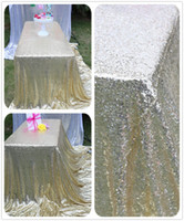 Wholesale High Quality Light Gold Sequin Tablecloth and Table Runner for wedding dinning party x102 Inch Many colors available custom made