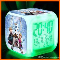 Wholesale 7Colors Frozen TMNT Alarm Clock LED Change Lighting Digital Alarm Clock Princess Anna Elsa Thermometer Glowing Table Clocks