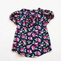 Wholesale 4pcs Y brand Floral Shirt for Girls blouse Ruffles blouses for girls camisa das meninas summer style dark blue