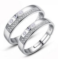 Wholesale 925 Silver Plated Adjustable Ring Jewelry Engagement letters Love Zircon Wedding Lovers Couple Rings for Women MenD59