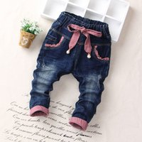 Wholesale 2016 Autumn Girls Fashion Jeans Solid Color Children Denim Pants Baby Year Old Trousers