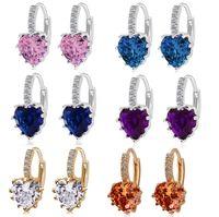 baguette earrings - 2016 Fashion New Arrival Emerald Cut Cubic Zircon Heart Earring Stud Gold Plated Ear Clip Design Baguette Earring For Ladies colors