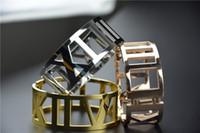 Wholesale Hot Sale Colors Big Roman Number X V Shape Bracelet for Women L Stainless Steel Bangle K Rose Gold Fashion Charm Bijoux Fine Jewelry