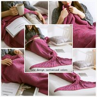 Wholesale Christmas Gift Crochet cm Adult Mermaid Tail Blanket Handmade Knitted Warm Air Conditioning Beautiful Sofa Blanket Baby sleeping bag