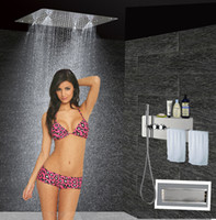 bathroom wire shelving - Bathroom Shower Set Concealed Shower Mixer with Wire Shelving and Towel Tack and Square Shower Head Rain Mist JF5203