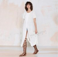 best cotton knit dress - Hot sale best price Sexy pure color White knitted dress splicing dress with short sleeves SYYD