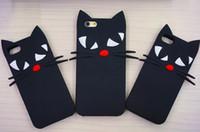 El silicón de Japón de la historieta 3D lupa la caja suave del silicón del gato negro de luna del arco linda para iphone5 5s se 6 6s más w / Screen Protector + Pen