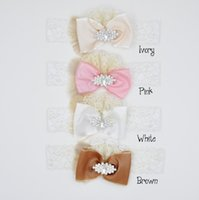 arc flower - Satin Flowers Bow Headband Matching Arc Lace and Rhinestone Hair Bow Newborn Accessories QueenBaby