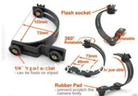 Wholesale 5pcs C Shaped Rotating Flash Hot Shoe Bracket FOR two portable flashes speedlights LEDs free tracking number