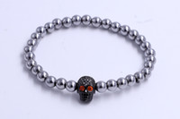 beaded human skull - Gadget Innovative Sterling Silver Evil Eye Beads Crystal Human Skull Model Red Crystal Eyes Bracelet
