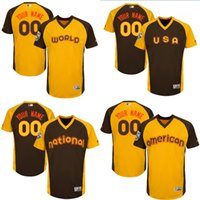 american league - custom Men s National League American League world usa Brown gold Personalized All Star Game baseball Jersey S XL