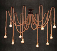 Wholesale 10 E27 Rope DropLight Edison Bulbs Vintage Net Spider Chandeliers Dining Room Ceiling Pendant Creative Bar Lamp DIY Cafe Fairy lights
