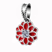 big flower bracelet - Red Enamel Big Flower Pendant Charm Sterling Silver European Beads Fit Snake Chain Bracelet Fashion DIY Jewelry