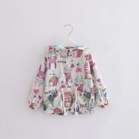 Wholesale Newborn Baby Girl Clothes New Fashion Print Hooded Girls Tench Coats Kid Girl Coats Kids Clothes Children Clothing GYG