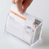 Wholesale New Business Card Holders Transparent Plastic Office Destop ID Card Business Office Accessories Papelaria