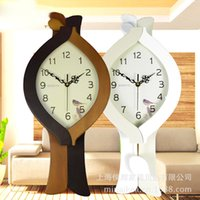 antique tuba - Creative home decor antique wooden wall clock pendulum tuba mute sided clock watches Continental Disc