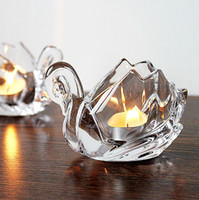 Wholesale Samll Crystal Glass Candle Holders Home Decor for Weddings Decoration Crystals Swan Votive Candle Holders with T lite