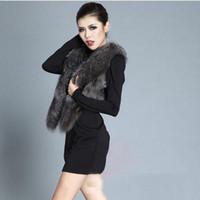 Wholesale Good Quality Faux Fur Short Vest Coat Women Sleeveless Fox Fur Shawl Cardigan Jacket Slim Formal Evening Outwear Winter Overcoats