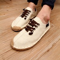 article shoes - Factory Direct Selling Summer Crooked Head Fisherman Flax Canvas Shoe Lovers Casual Trend Straw Plaited Article Dawdler