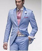handkerchief dresses - Men suits slim fit mens light blue suits designer suits zipper fly wedding dresses tuxedos groom Jacket Pants Tie Handkerchief