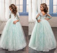 Wholesale Romantic Mint Green Flower Girl Dress for Weddings Tulle with Lace Open Back Ball Gown first communion pageant dresses for girls