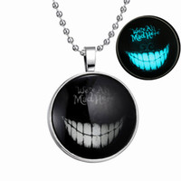 alice choker - Alice in Wonderland Pendant necklace Gold silver Plating fashion jewelry Choker Necklaces for women ladies mysterious smile luminous