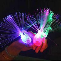 Wholesale 20Pcs Peacock Finger Night Lights Color Led Lamp Kids Optical Fiber Finger Light Educational Plastic Finger Toy