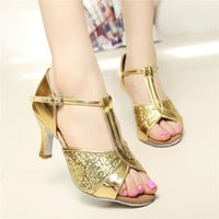Wholesale Ms adult professional dance shoes soft bottom Ms adult sequined fabric with cm in Latin shoes ballroom dancing shoes GB Square Dance