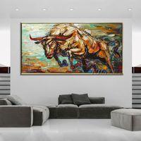 al office - Pinturas Al Oleo Cuadros Hand painted Abstract Bull Oil Painting On Canvas Handmade Bull Painting For Office Decoration cuadros