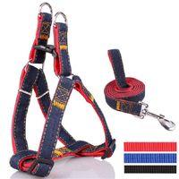 achat en gros de harnais inoxydable-Colorful Leash Jean Denim Harness Dog Cat Chain Collar ceinture en corde Collier réglable Chiens Harnais en acier inoxydable Boucle Mascotas