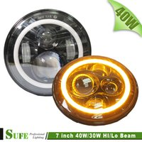 acura jeep - 7inch round w LED Headlight for Jeep Wrangler with angel eyes hi lo beam off road x4 use motorcycle offroad truck SUV boat