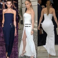 Wholesale New Style Women White Maxi Dress Sexy Strapless Long Prom Dress Summer Split Party Evening Gowns Dresses YH060