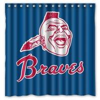 atlanta fabric - Atlanta Braves Design Shower Curtain Size x cm Custom Waterproof Polyester Fabric Bath Shower Curtains