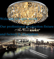 Wholesale contemporary round crystal chandeliers surface mount ceiling lamp E14 led glass large chandelier lights hotel foyer living room bedroom