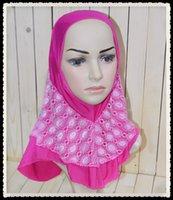 Wholesale M030 New style Fashion Lace per dozen Child Hijabs Ice Silk Kids Hijabs