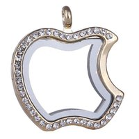 apple jewelry box - Apple Floating Locket Pendants Living Memory photo Glass Crystal box model floating charm lockets part of necklace keychain jewelry