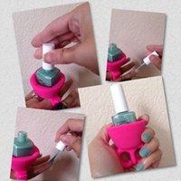 Wholesale newly nail polish bottle holder with silicone finger ring Nail Art Equipment Creative nail polish bottle cooler