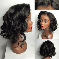 Wholesale Short Cut Lace Front Wigs Human Hair inches Full Lace Bob Wigs for Black Women Brazilian Glueless Wavy Bob Lace Wig