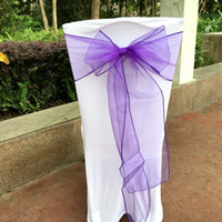 Wholesale 25 Pieces Many Colors Color Organza Sashes Chair Cover Bow Banquet Wedding Party Decoration New