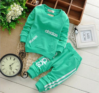 Wholesale baby boy girls clothes outfit baby top pants letters design enfant mm clothing kids sport sets children Cardigan pants Y pc pack CQZ071