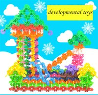 Wholesale M or L early childhood education Manufacturers selling color snowflakes assembled LEGO puzzle snowflake children toys