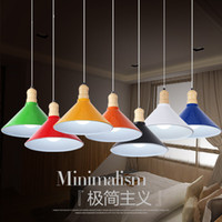 artistic coffee - Simple modern pendant lamp restaurant artistic personality single head aluminum bar coffee ceiling wood commercial lighting