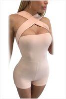 Tute bodycon sexy brevi i pagliaccetti delle donne vendita calda maniche incrociato Bandage Backless s femmina scarna Pants club indossare la tuta