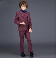Wholesale Wool Blend One Button Boy sTuxedos Notch Lapel Children Suit Pinstripe Dark Red Kid Ring Wedding Prom Suits Jacket Pants Vest