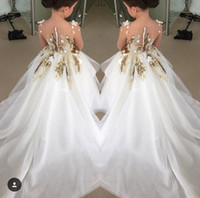Wholesale 2016 New Long Sleeves Girls Pageant Dresses Gold Sequins Sheer Neck High Low Formal Kids Wear For Wedding Party Flower Girl Dress Cheap