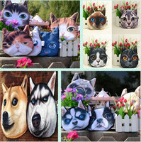 Wholesale 3D Animal Cute Cat Dog Face Zipper Case Coin Purse Wallet Makeup Buggy Bag Pouch hot HHA972